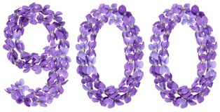 Arabic numeral 900, nine hundred, from flowers of viola, isolate Royalty Free Stock Photography