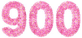 Arabic numeral 900, nine hundred, from pink forget-me-not flower. S, isolated on white background Stock Photos