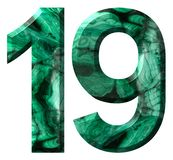 Arabic numeral 19, nineteen, from natural green malachite, isolated on white background vector illustration