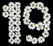 Arabic numeral 19, nineteen, one, nine, from white flowers of Ce vector illustration