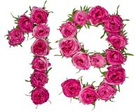 Arabic numeral 19, nineteen, one, from red flowers of rose, isol Royalty Free Stock Photo