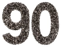 Arabic numeral 90, ninety, from black a natural charcoal, isolat Royalty Free Stock Photo