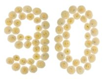 Arabic numeral 90, ninety, from cream flowers of chrysanthemum, Royalty Free Stock Images