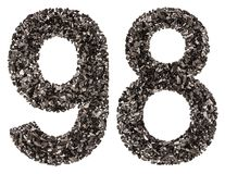 Arabic numeral 98, ninety eight, from black a natural charcoal, Stock Photo