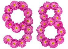 Arabic numeral 98, ninety eight, from flowers of chrysanthemum,. Isolated on white background Stock Photography