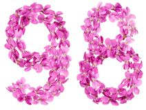 Arabic numeral 98, ninety eight, from flowers of viola, isolated. On white background Royalty Free Stock Photography