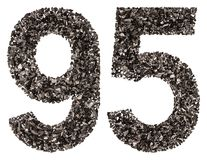 Arabic numeral 95, ninety five, from black a natural charcoal, i Royalty Free Stock Photos
