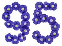 Arabic numeral 95, ninety five, from blue flowers of flax, isola. Ted on white background Royalty Free Stock Photography