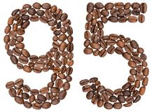 Arabic numeral 95, ninety five, from coffee beans, isolated on w. Hite background Royalty Free Stock Image