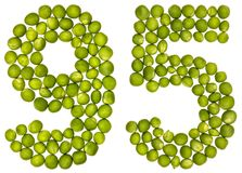 Arabic numeral 95, ninety five, from green peas, isolated on whi. Te background Stock Photography