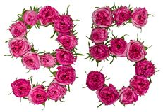 Arabic numeral 95, ninety five, from red flowers of rose, isolat. Ed on white background Royalty Free Stock Photography