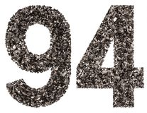 Arabic numeral 94, ninety four, from black a natural charcoal, i Royalty Free Stock Photos