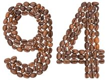 Arabic numeral 94, ninety four, from coffee beans, isolated on w. Hite background Royalty Free Stock Image