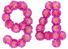 Arabic numeral 94, ninety four, from flowers of chrysanthemum, i. Solated on white background Stock Image