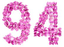 Arabic numeral 94, ninety four, from flowers of viola, isolated. On white background Royalty Free Stock Photography