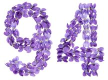 Arabic numeral 94, ninety four, from flowers of viola, isolated. On white background Stock Photos