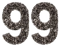 Arabic numeral 99, ninety nine, from black a natural charcoal, i Royalty Free Stock Photography
