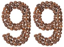 Arabic numeral 99, ninety nine, from coffee beans, isolated on w. Hite background Stock Photos