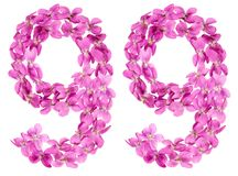 Arabic numeral 99, ninety nine, from flowers of viola, isolated. On white background Royalty Free Stock Photo