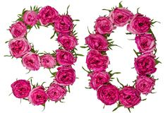 Arabic numeral 90, ninety, nine, from red flowers of rose, isola Stock Photography