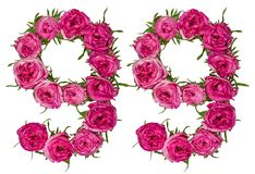 Arabic numeral 99, ninety nine, from red flowers of rose, isolat Stock Images