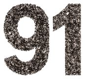 Arabic numeral 91, ninety one, from black a natural charcoal, is Stock Images