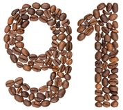 Arabic numeral 91, ninety one, from coffee beans, isolated on wh. Ite background Stock Photo