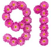 Arabic numeral 91, ninety one, from flowers of chrysanthemum, is. Olated on white background Royalty Free Stock Photo