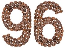 Arabic numeral 96, ninety six, from coffee beans, isolated on wh. Ite background Royalty Free Stock Photography