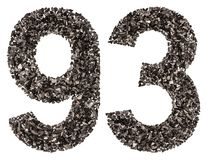 Arabic numeral 93, ninety three, from black a natural charcoal, Royalty Free Stock Photography