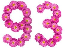 Arabic numeral 93, ninety three, from flowers of chrysanthemum,. Isolated on white background Stock Photos