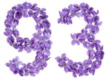 Arabic numeral 93, ninety three, from flowers of viola, isolated. On white background Stock Photography
