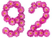 Arabic numeral 92, ninety two, from flowers of chrysanthemum, is. Olated on white background Royalty Free Stock Image