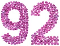 Arabic numeral 92, ninety two, from flowers of lilac, isolated o. N white background royalty free stock photo