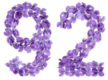 Arabic numeral 92, ninety two, from flowers of viola, isolated o. N white background Royalty Free Stock Photo