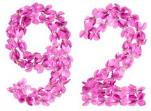 Arabic numeral 92, ninety two, from flowers of viola, isolated o. N white background Royalty Free Stock Image