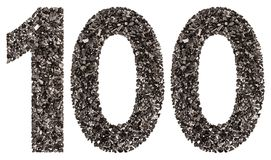 Arabic numeral 100, one hundred, from black a natural charcoal, Stock Photos
