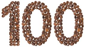 Arabic numeral 100, one hundred, from coffee beans, isolated on. White background Stock Photos