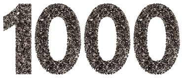 Arabic numeral 1000, one thousand, from black a natural charcoal Royalty Free Stock Image