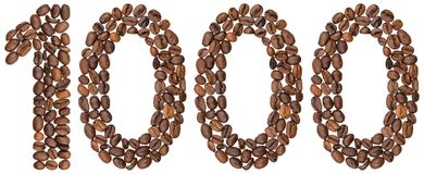 Arabic numeral 1000, one thousand, from coffee beans, isolated o. N white background Royalty Free Stock Photo