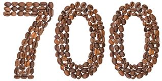 Arabic numeral 700, seven hundred, from coffee beans, isolated o. N white background Royalty Free Stock Photo