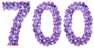 Arabic numeral 700, seven hundred, from flowers of viola, isolat Stock Photography