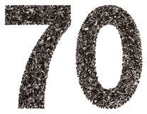 Arabic numeral 70, seventy, from black a natural charcoal, isola Stock Images