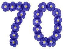 Arabic numeral 70, seventy, from blue flowers of flax, isolated. On white background Stock Photography