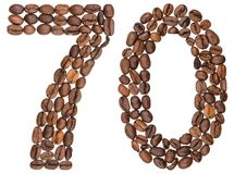 Arabic numeral 70, seventy, from coffee beans, isolated on white. Background Royalty Free Stock Photo