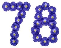 Arabic numeral 78, seventy eight, from blue flowers of flax, iso. Lated on white background Stock Photo