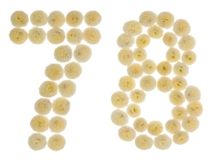 Arabic numeral 78, seventy eight, from cream flowers of chrysant. Hemum, isolated on white background Stock Photos