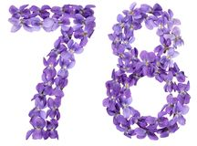 Arabic numeral 78, seventy eight, from flowers of viola, isolate. D on white background Stock Images