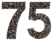 Arabic numeral 75, seventy five, from black a natural charcoal,. Isolated on white background Stock Image