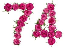 Arabic numeral 74, seventy four, from red flowers of rose, isola. Ted on white background Stock Image
